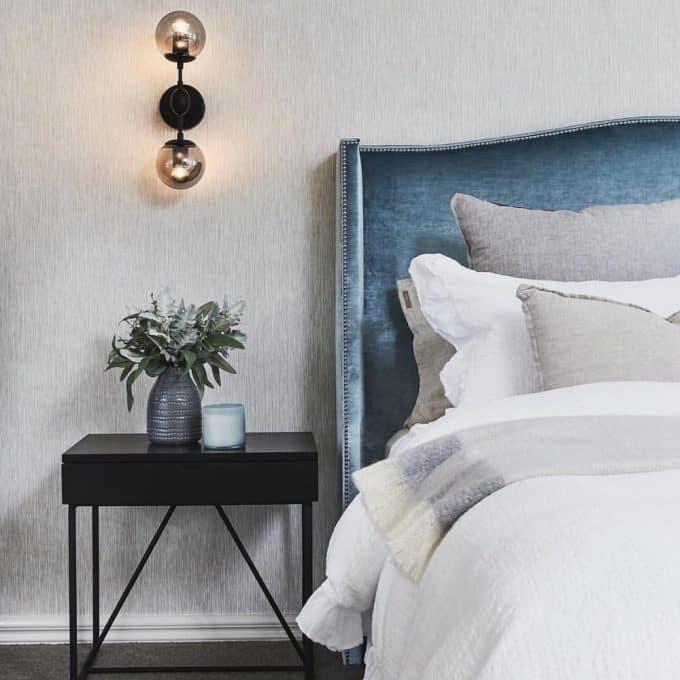 Hampton bed head in sky velvet