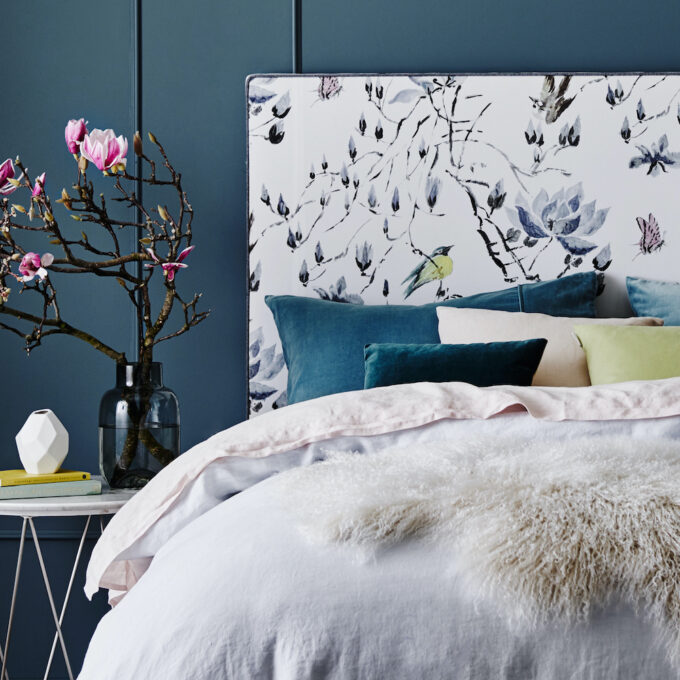 Ralston Bed bed head queen in floral fabric upholstered