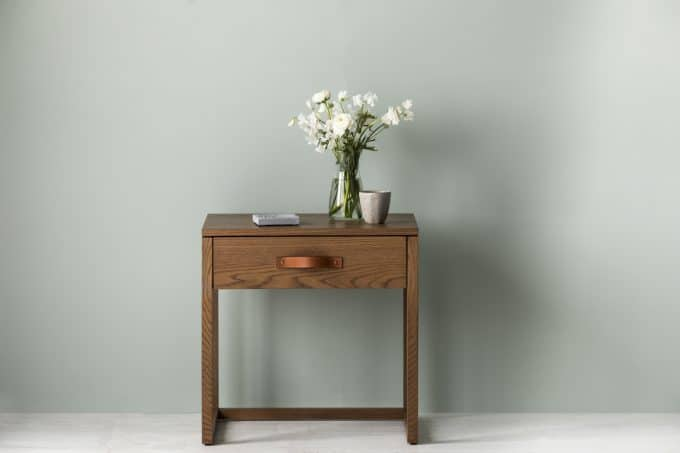Oxley side table in Caramel stain with leather handle