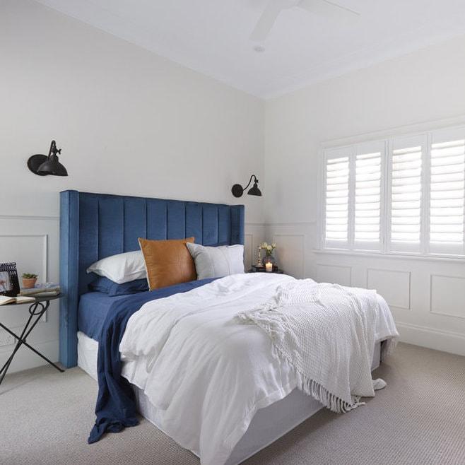 Leila bedhead Josh & Elyse the block blue velvet bedroom