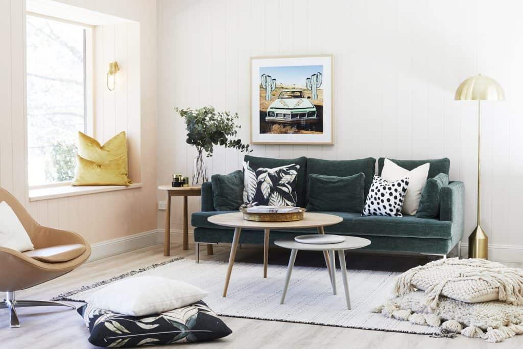 Three Birds Renos, Heatherly Design velvet cushions, The River Shack