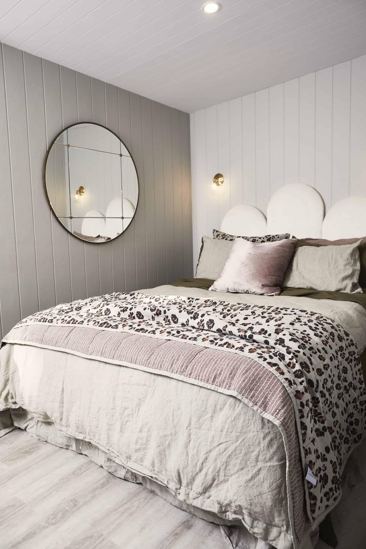 Three Birds Renovations, Master bedroom, Poppy velvet bedhead