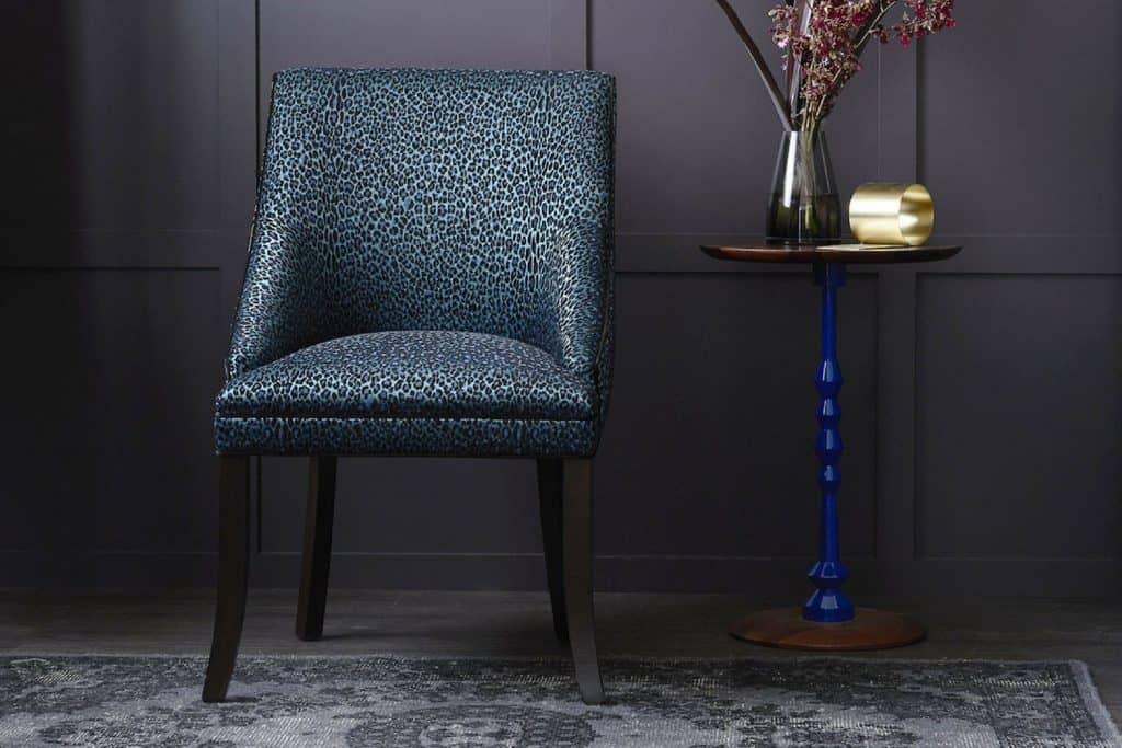 Heatherly Design Crosby chair in Catherine Martin Leopardo velvet