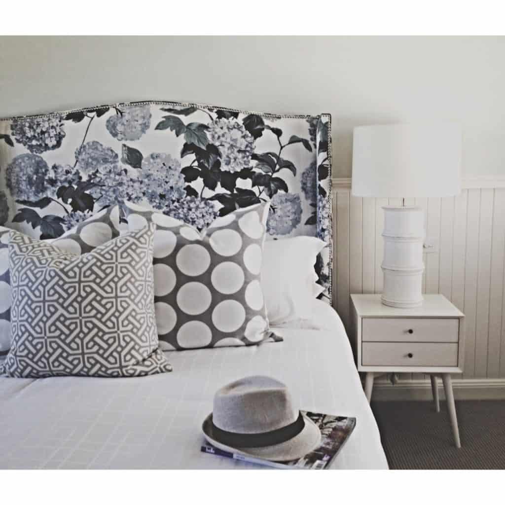 Hampton Bedhead in Hydrangea Linen
