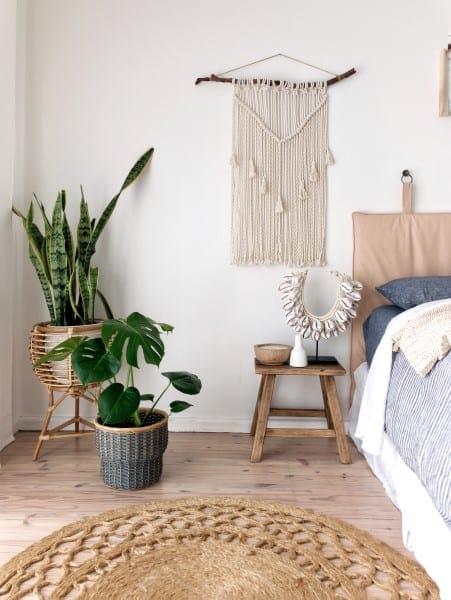Coastal bedroom leather bedhead