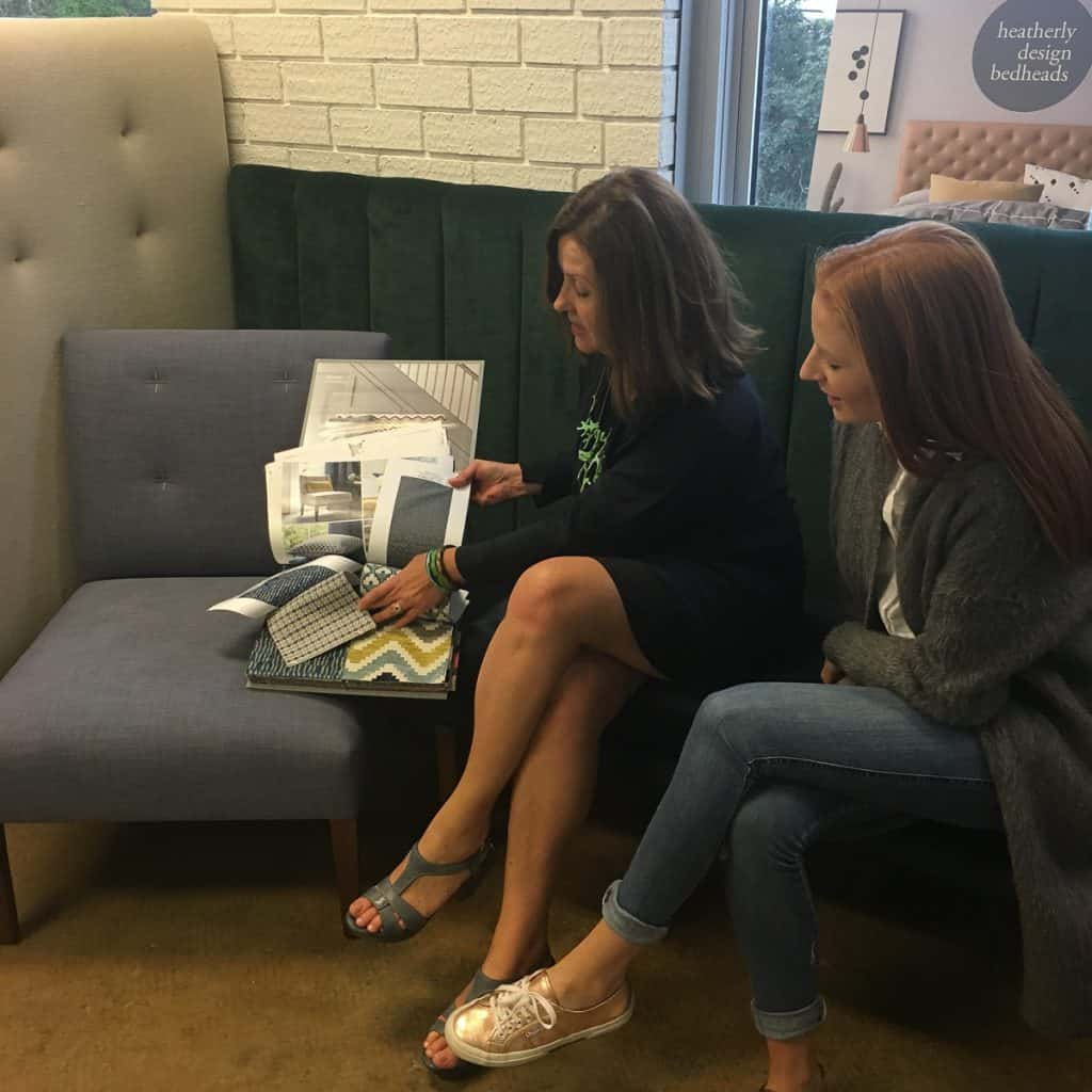 Michelle talking through some options for Courtney's new Fenwick Chair.