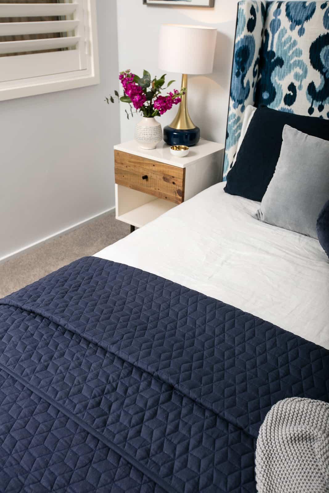 ikat bedhead, bedroom