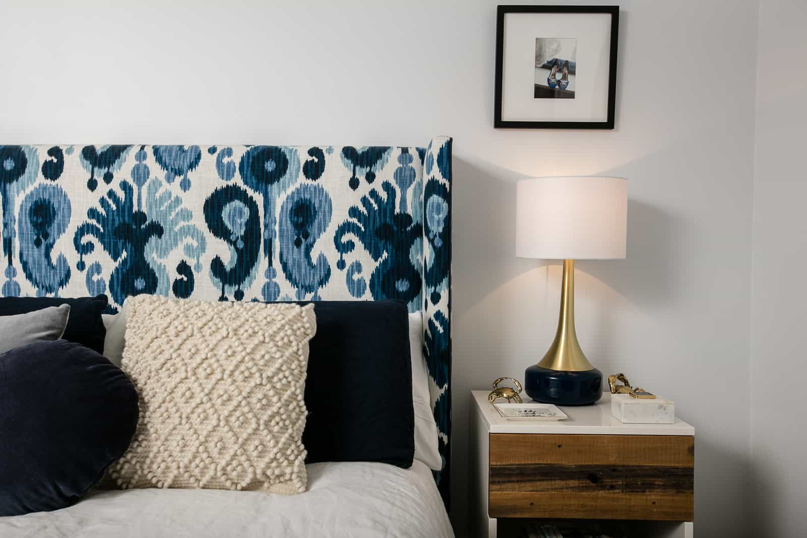 Winged bedhead, ikat, upholstered bedhead