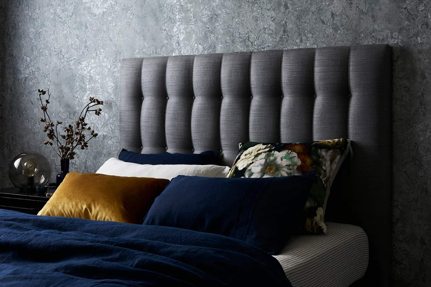 Chelsea bedhead, upholstered linen bedhead