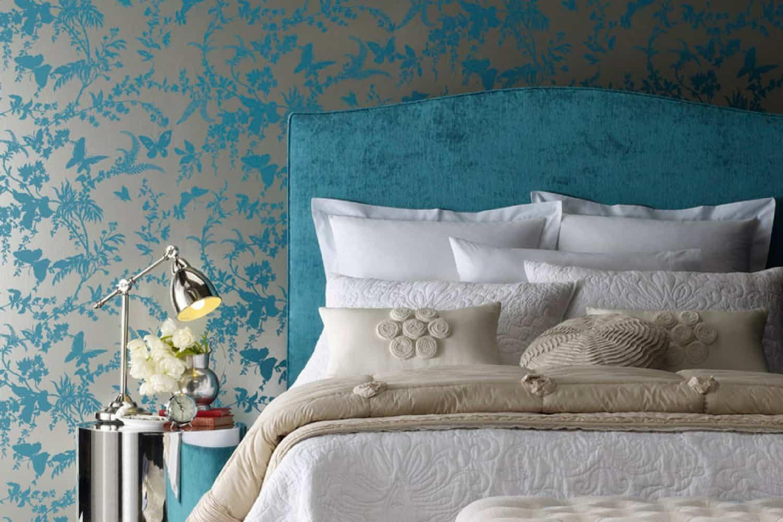 Fulham bedhead, Florence Broadhurst wallpaper