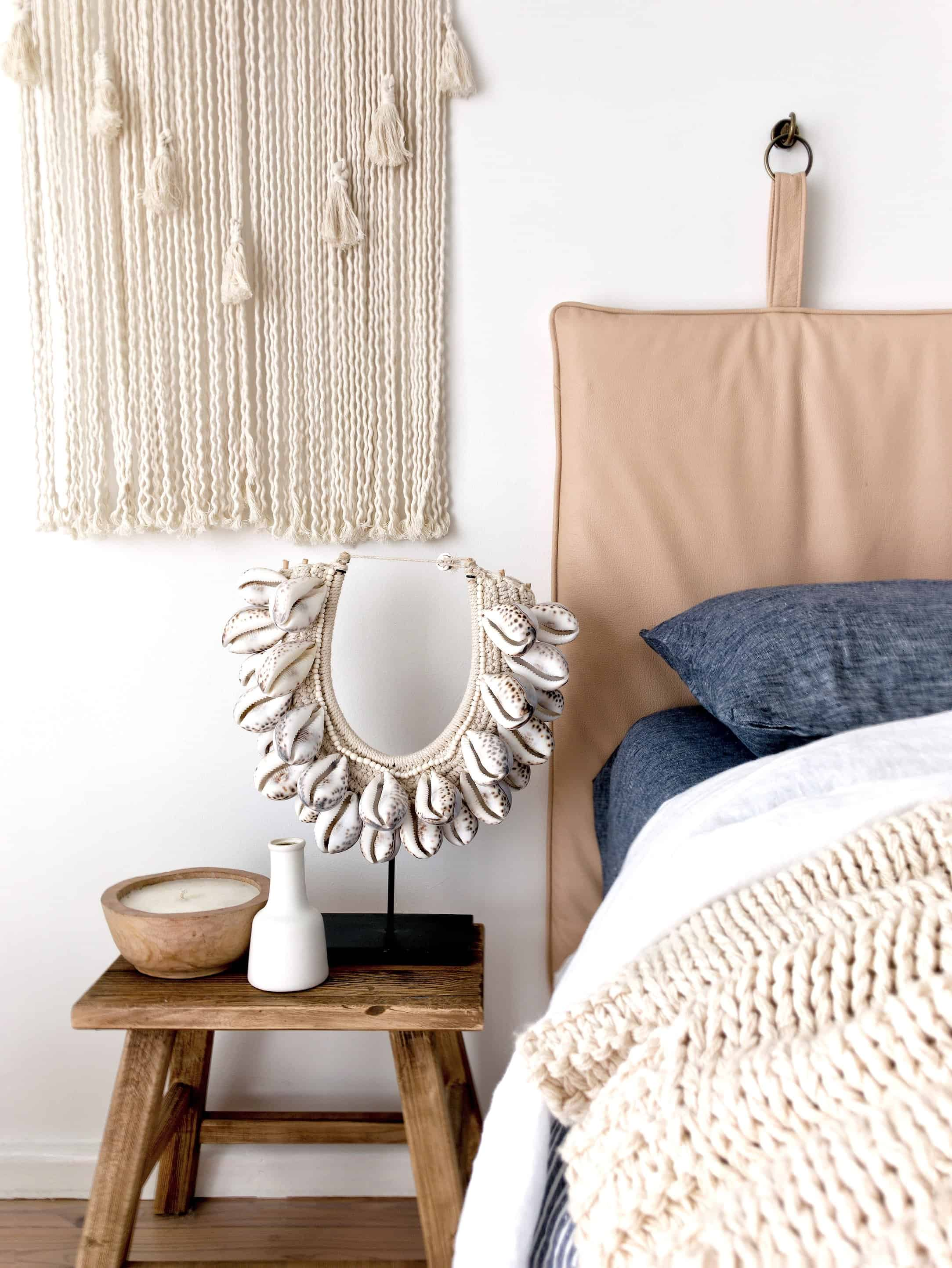 Leather bedhead coastal scheme