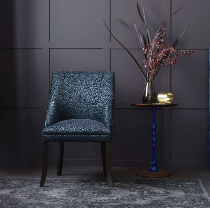 Crosby Chair in Catherine Martin Leopardo Sapphire Velvet