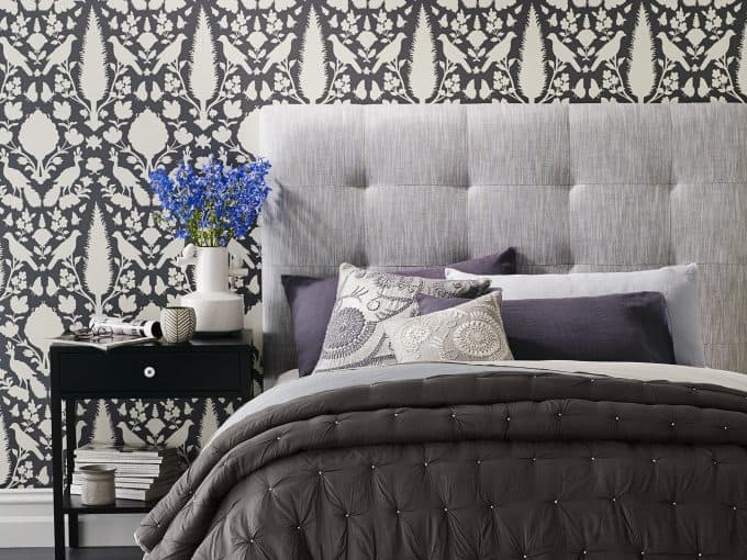 Heatherly Design Sackville bedhead in Pedra Frost Linen (fabric no longer available)