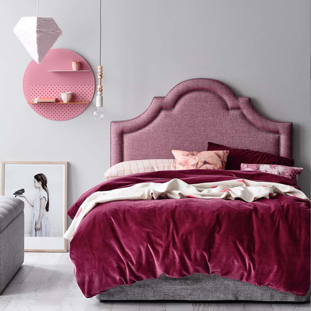 Empire  Bedhead in Glitz Orchid Linen