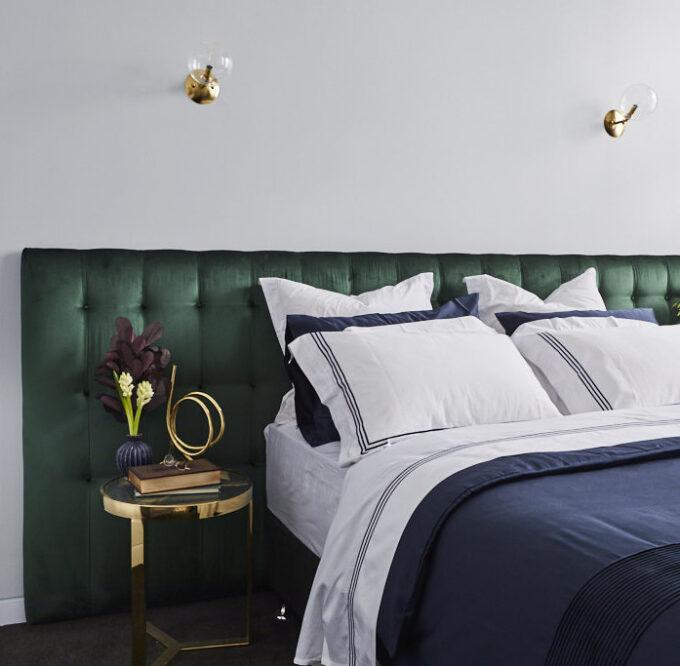 Chelsea bed head in velvet green wide the block