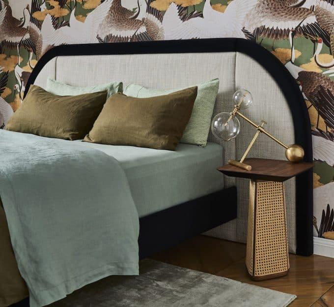 Marcel bed in Ozone Ecru Linen