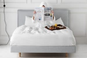 Readymade Rupert Bed in Husk Ice Linen, Concierge Collection