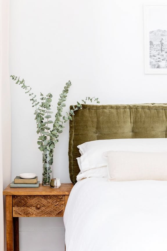 bedroom upholstery colour inspo, eucalyptus and olive