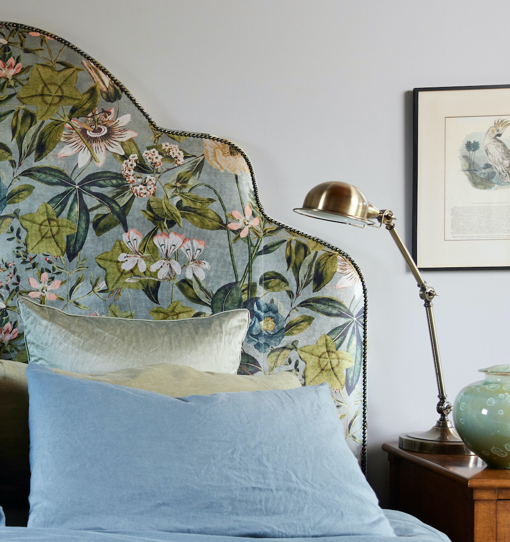 Giselle bed head in velvet floral green luxurious georgie leckey