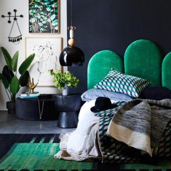 Poppy Bedhead in Dolce Emerald Velvet
