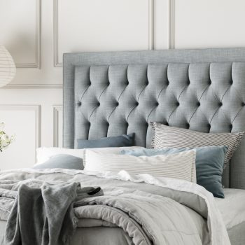 Tilbury Bed side in Villano Drizzle Linen