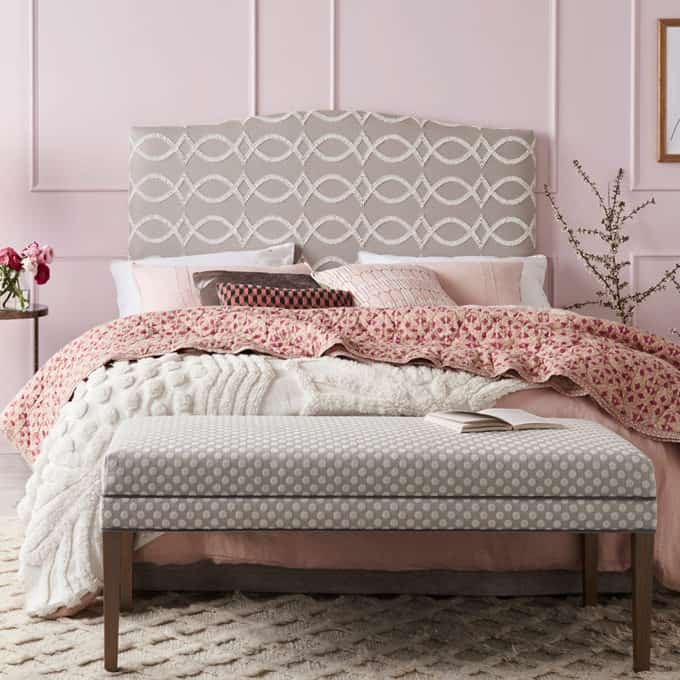 curved bed head Anna Spiro fabric