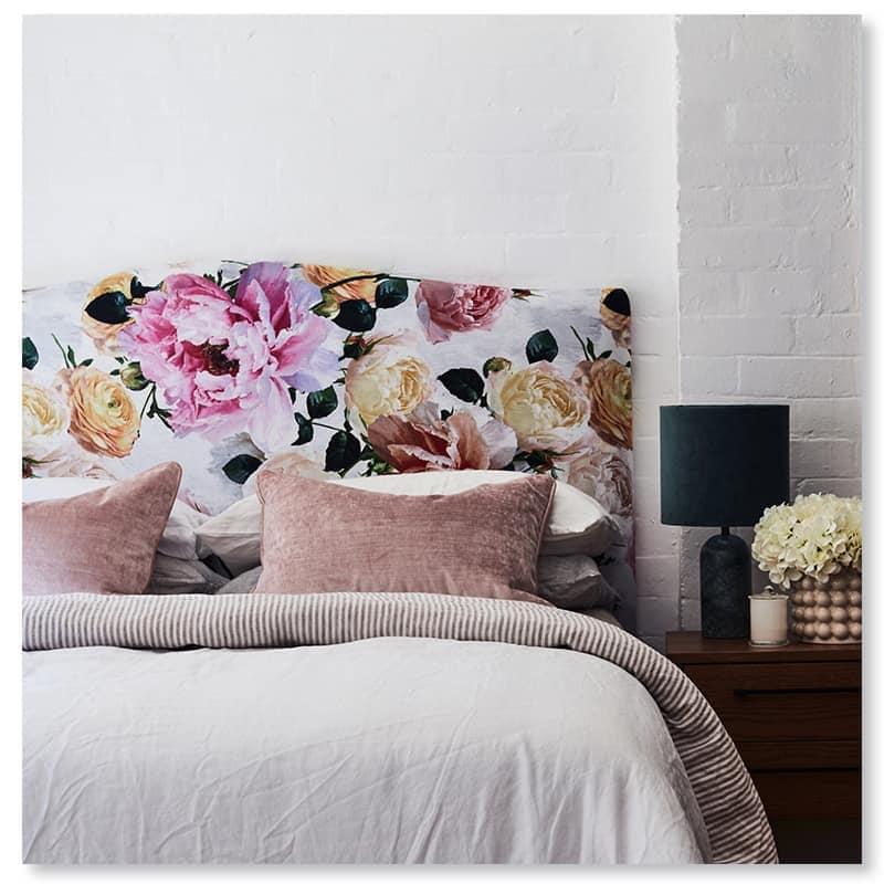 Queen Valentine bedhead in Floral linen