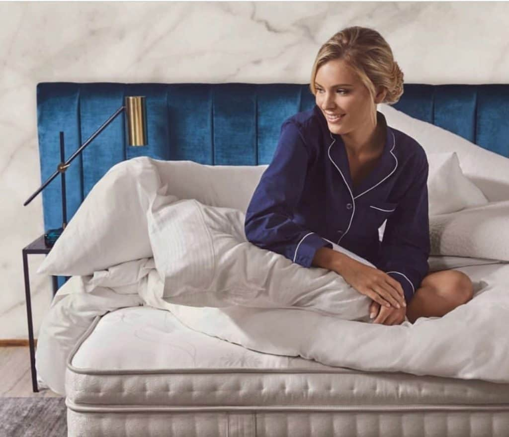 Heatherly Design Lincoln Bedhead and custom Sealy Mattress (available at our showrooms)