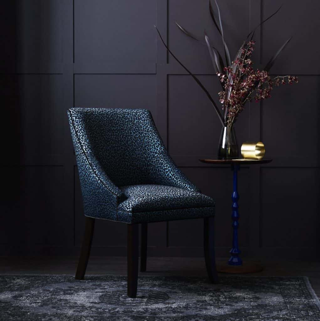 Crosby Chair in Catherine Martin Leopardo Sapphire Velvet