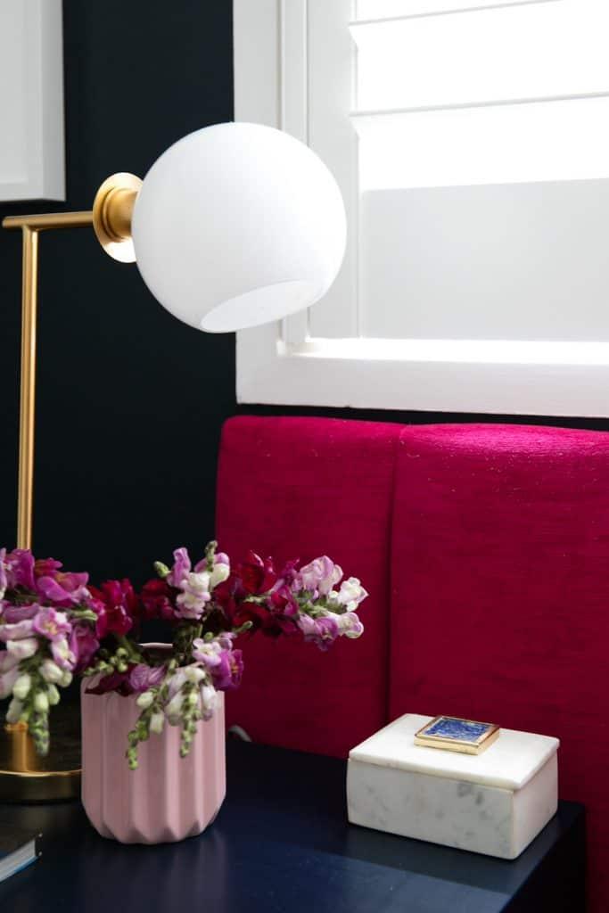 Heatherly Design Lincoln Bedhead in Lipstick Velvet
