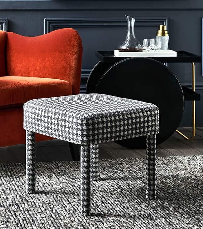 Von Footstool in Plaid Wool