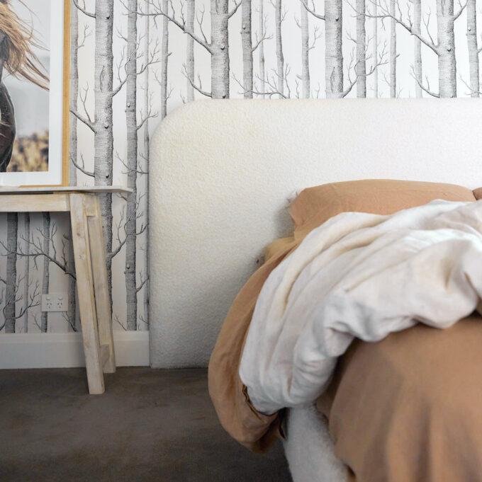 Louis bed head in boucle blush linen bedroom