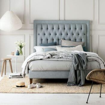 Heatherly Design bedheads Tilbury bedhead in Villano drizzle