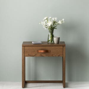 Oxley side table in caramel stain with leather handle Heatherly Design