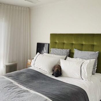 Richmond bedhead in green velvet