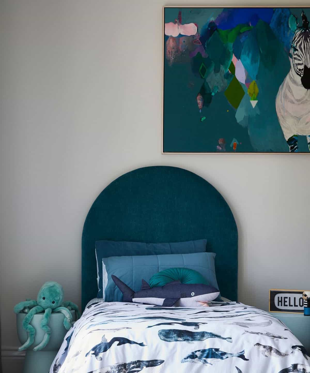 Heatherly Design's Stella Bedhead in the bedrooom of Bec Judd's twin boys
