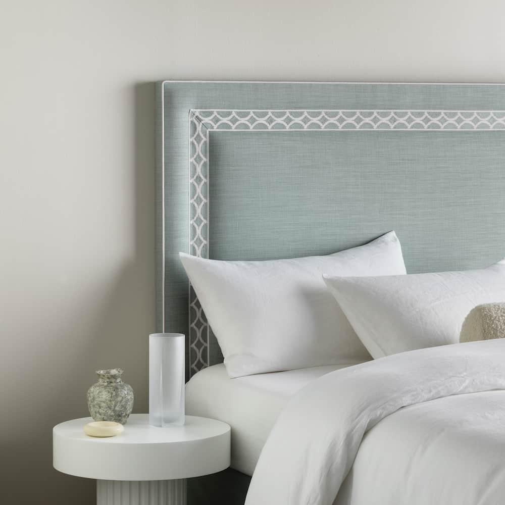 Astor bedhead in Aramon Willow linen
