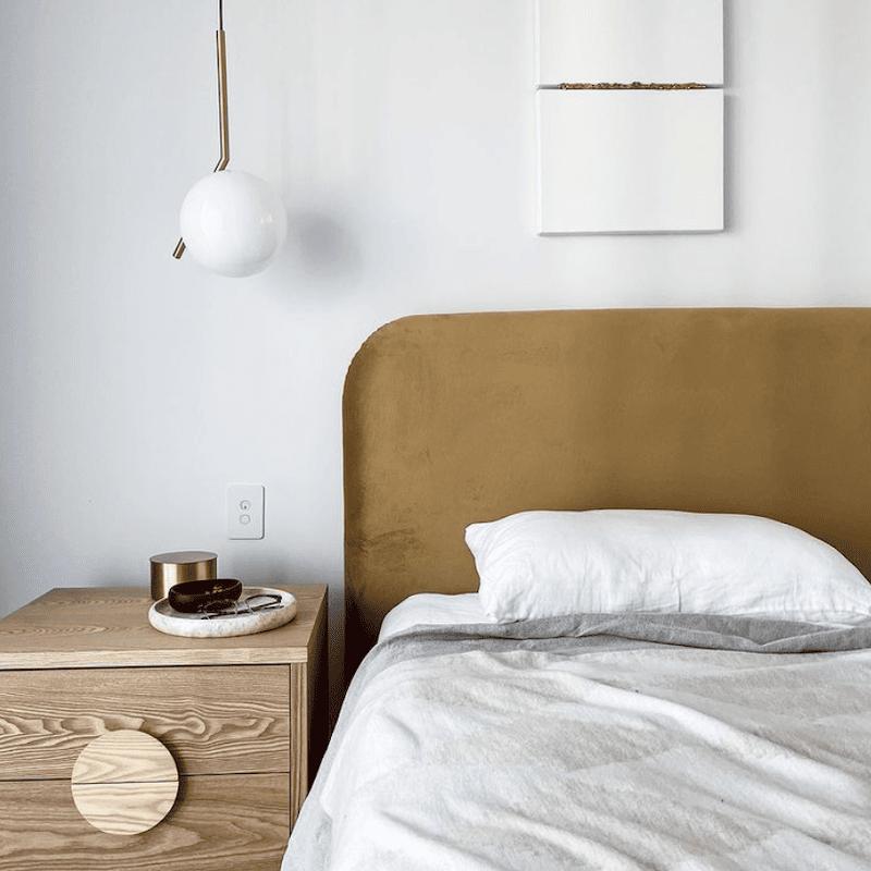 Louis bed head curved mustard earthy velvet luxury minimalist bedroom design
