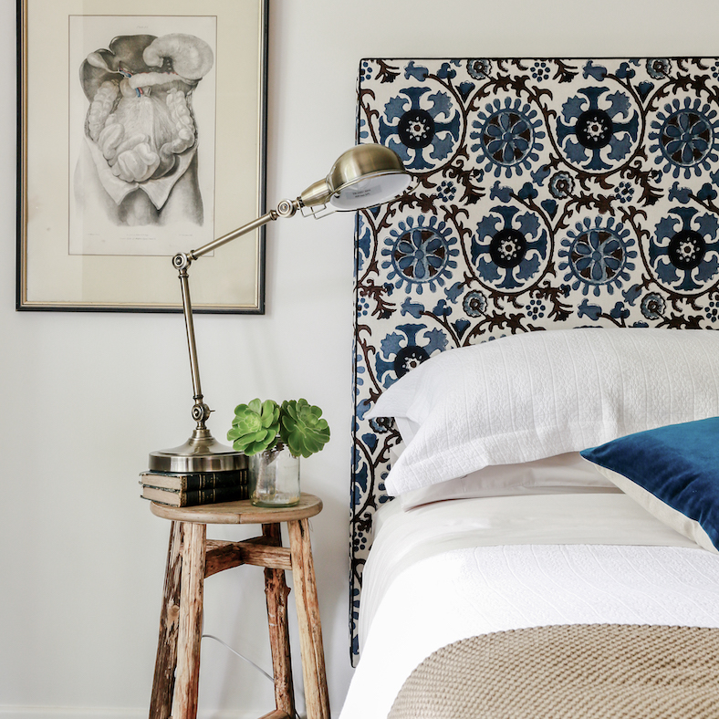 Ralston bed head patterned square upholstered print