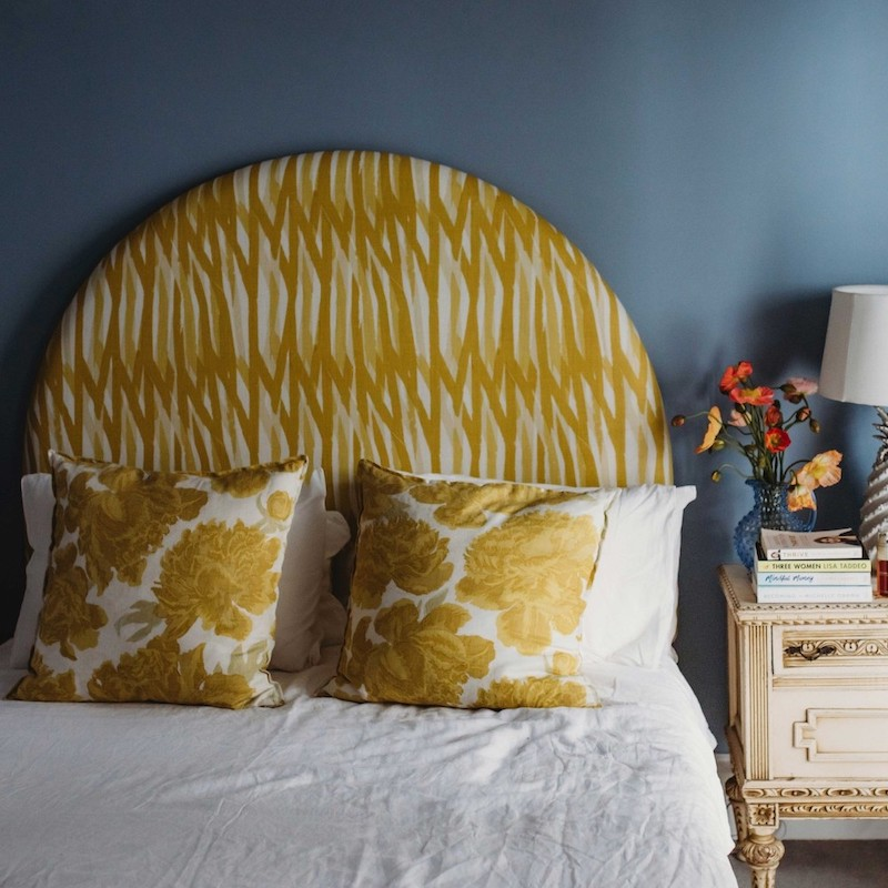 curved bed head yellow gold linen custom