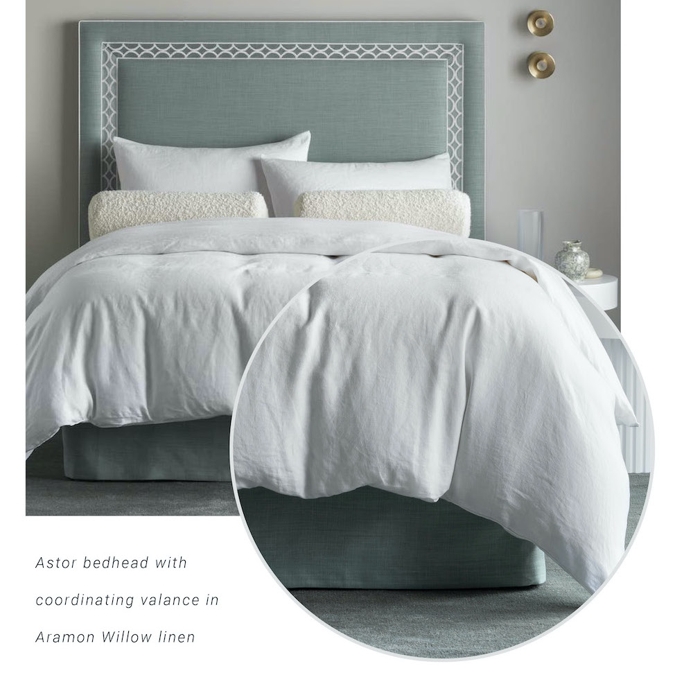 Astor bed head in linen with valance