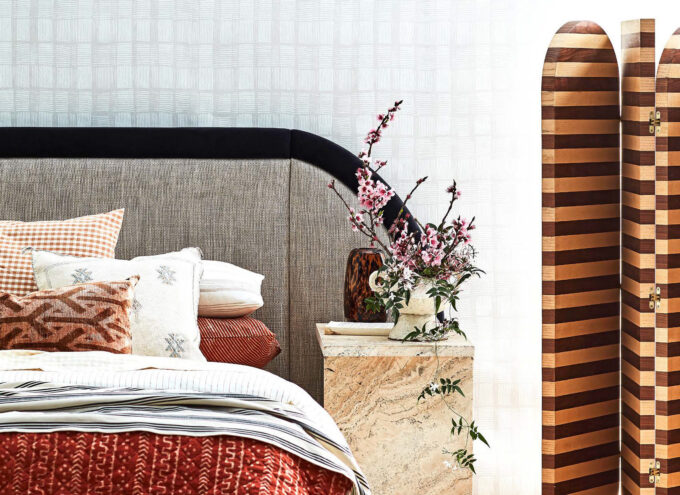 Marcel Bed head in Ozone Ecru linen curved for inside out magazine October issue