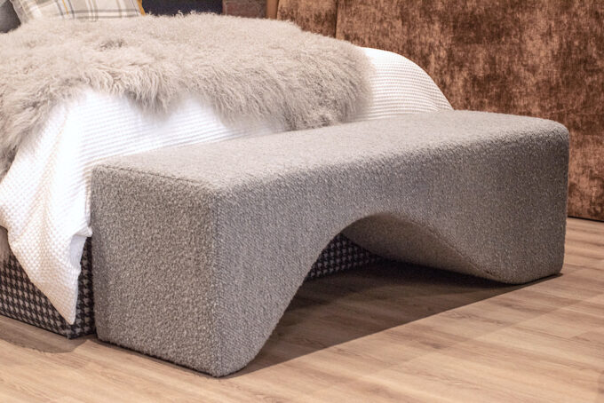 joy footstool in grey boucle ottoman curved